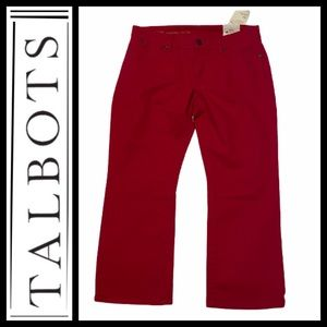Talbots Signature Red Crop Flare Jeans NWT